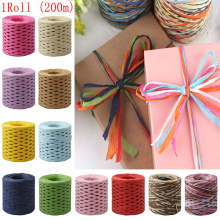 1 Roll 200 Meters Raffia Ribbon Paper Rope Palm Packaging Rope Decorations Baking Box Packing Party Candy Gifts