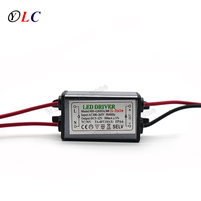 ( 1-3 ) X 1W 3W IP66 Waterproof LED Driver Power Supply Constant Current AC100 - 265V to DC 3V -12V 240mA -300mA for LED