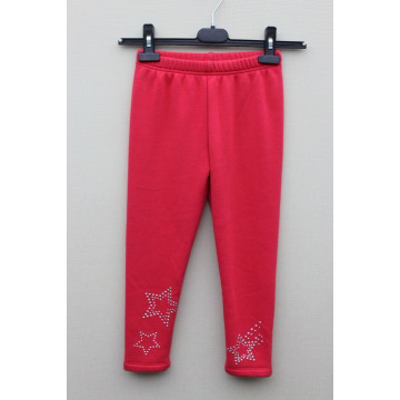GIRL'S COTTON SPANDEX KNITTED Hot Drilling SOLID LEGGING