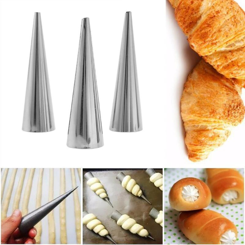 5Pcs/set DIY Baking Cones Stainless Steel Spiral Baked Croissants Tube Horn Pastry Roll Cake Mold for Cream Horns Chocolate Cone