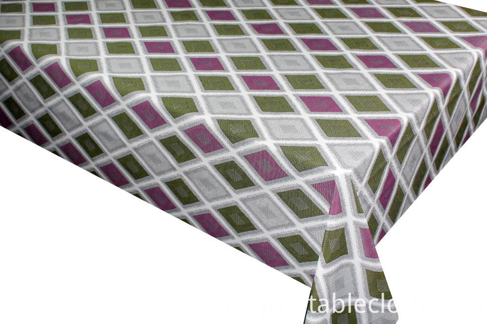 Printed tablecloth with fabric backing