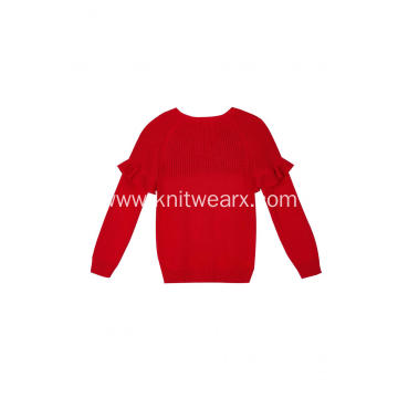 Girl's Knitted Ruffled Chest Boat Neck Pullover