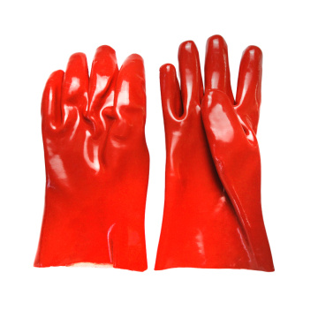 Red PVC coated gloves cotton linning 27cm