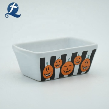 High quality custom cartoon printed ceramic baking rectangle bakeware set