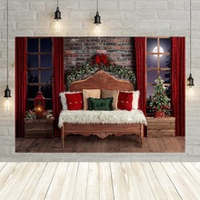 Avezano Christmas Photography Background Indoor Bed Brick Wall Window Red Curtain Wood Floor Portrait Backdrop for Photo Studio