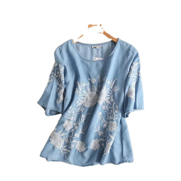 Short Sleeve Design Cotton Ethnic Women Floral