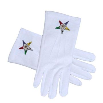 France Red Cross Thick Heavy 140d White Nylon Polyester Church Custom Embroidery Masonic Cotton Gloves White