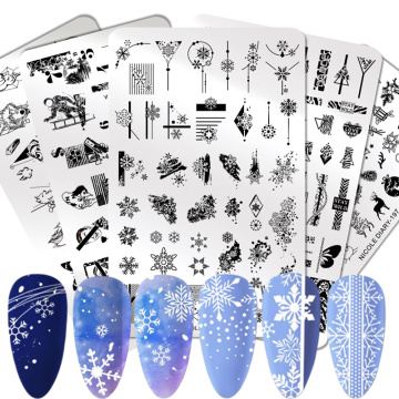 NICOLE DIARY Snowflake Nail Stamping Plates Christmas Xmas Stainless Steel Stamp Template For Printing Stencil Tools