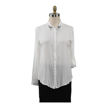 Women Tops Challis Ladies Blouse  With Beads