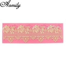 Aomily Lace Rose Wedding Cake Silicone Beautiful Flower Lace Fondant Mold Mousse Sugarcraft Icing Mat Pad Pastry Baking Tools