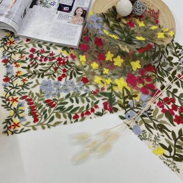 Allover Multicolor Flower Embroidery Fabric Spring