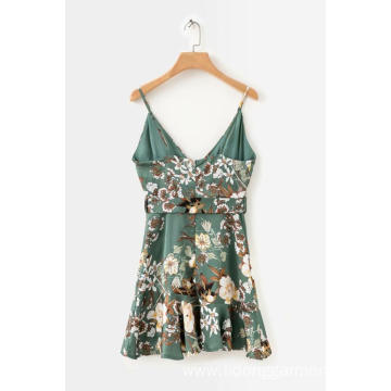 Women's Causal Flower Printed Sling Mini Lace Dress