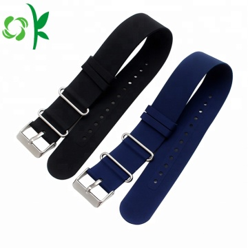 Custom Logo Black/Blue Silicone Watch Bands Smart Strap