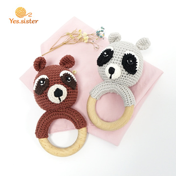 Natural Wooden Teething Ring Crochet Bear Rattle Toys