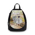 Student print pattern anti theft backpack
