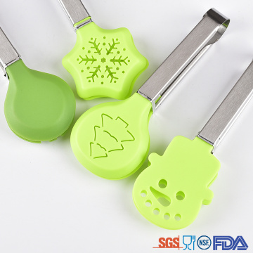 Funny design Christmas tree snow shape Nylon tongs
