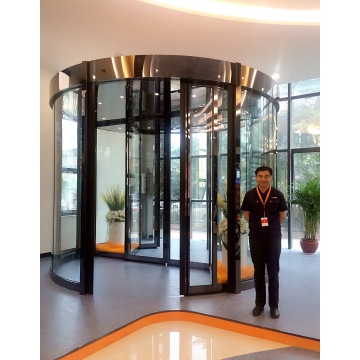 Automatic Two Wing Revolving Doors with Display Case