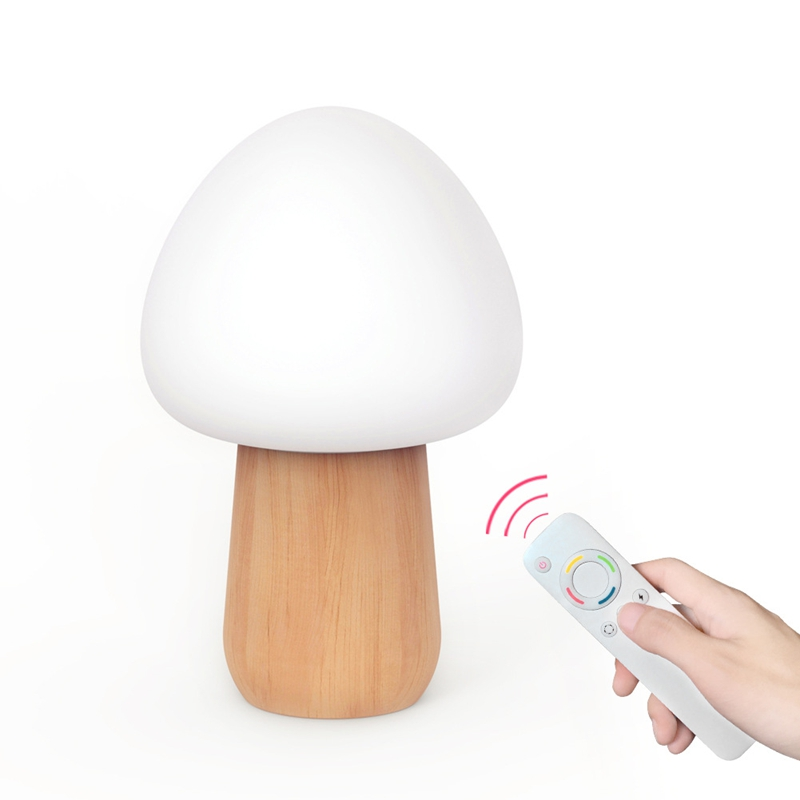 Wooden Multicolor Mushroom Led remote controller lamp USB Rechargeable Night Light For Holiday Gifts