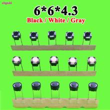 100pcs Japanese Mixer Internal Keys For ALPS 6*6*4.3 MM 2P DIP Push Button Switch 6x6x4.3 White Round Long Service Life