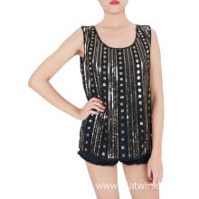 Black Gold Embroidered Sequin Tank Tops