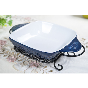 Dimensional Stability Odorless Ceramic Bakeware With Handles