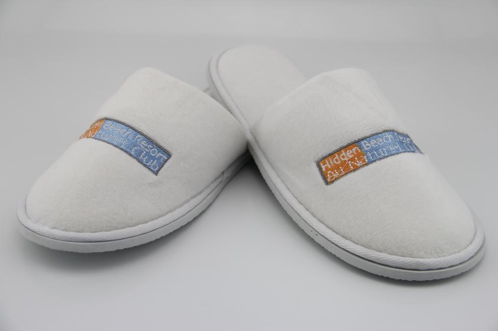 Velour Hotel Closed Toe Slippers With Embroidery Logo