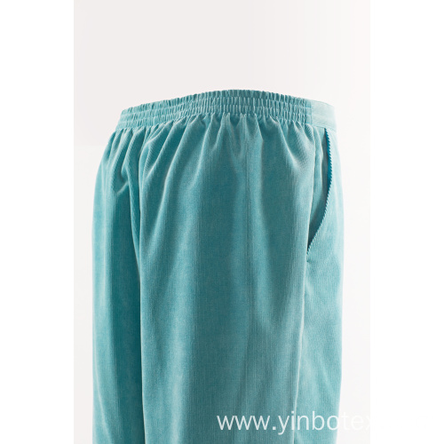 Aqua solid trousers with straight legs