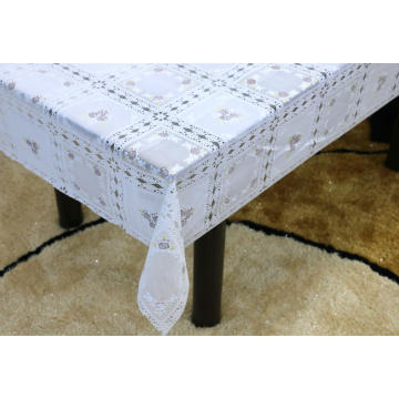 Printed pvc and lace tablecloth by roll