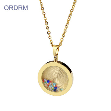 Zircon Gold Virgen De Guadalupe Floating Charm Necklace