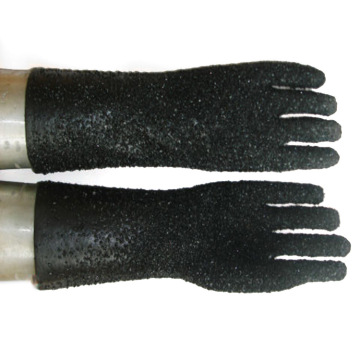 Black PVC all granular cotton lining gloves