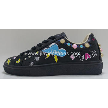 Direct Selling Cow Leather Girl Sneaker Shoes