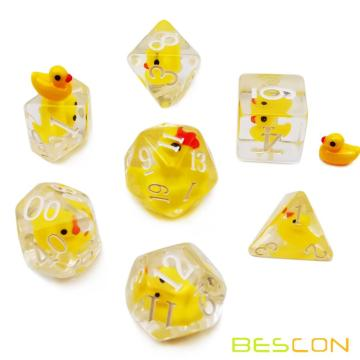 Bescon YellowDuck RPG Dice Set of 7,  Novelty Yellow Duck Polyhedral Game Dice set