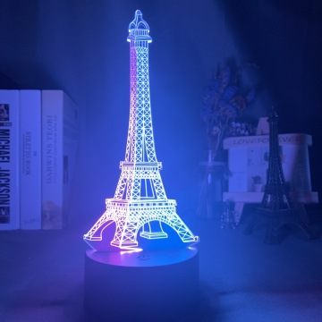 Double Color 3d Illusion Night Light Eiffel Tower for Home Decoration Nightlight Led Touch Sensor Hit Color Girl Night Lamp Gift