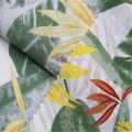 Small fresh plant printed linen / cotton fabric