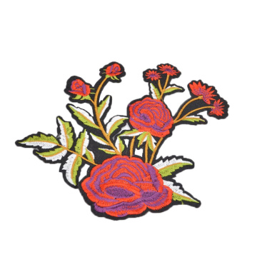 EXW price Custom Rose Flower Embroidery Patches