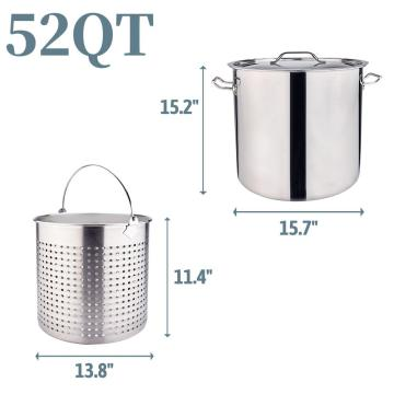52QT Stainless Steel Stock Pot