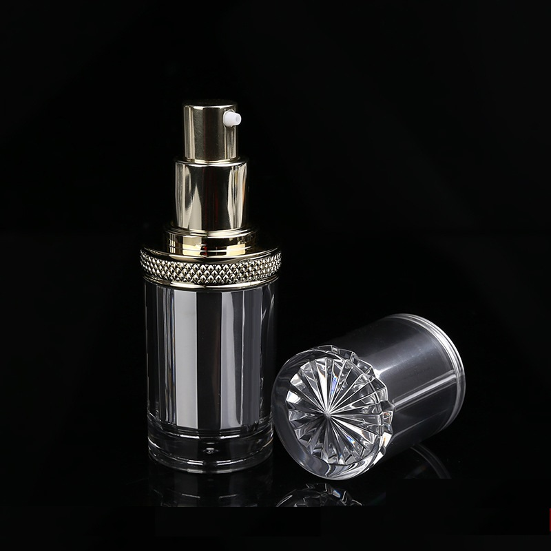 Silver acrylic airless bottle
