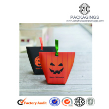 Halloween paper gift box with pumpkin logo