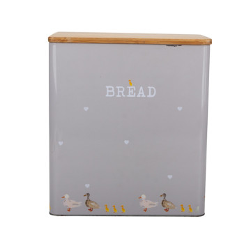 Extra Large Square Bamboo Lid Metal Bread Bin