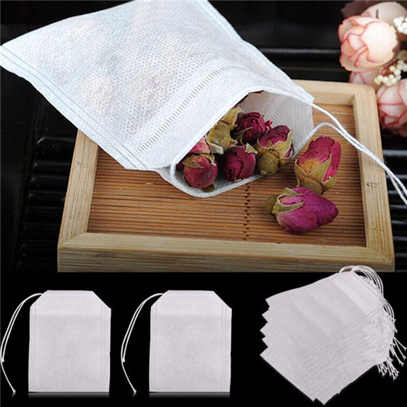 HOT 100Pcs/Lot Teabags Empty Tea Bags With String Heal Seal Filter Paper for Herb Loose Tea Supplies 5.5 x 7CM