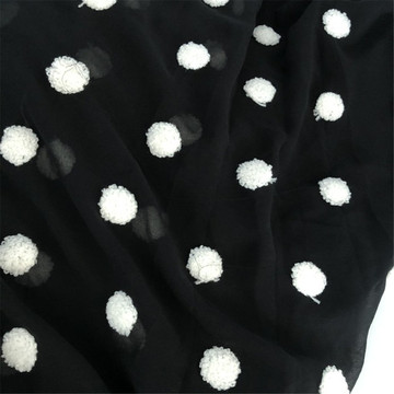 Black and White Chiffon Embroidery Tulle For Dress