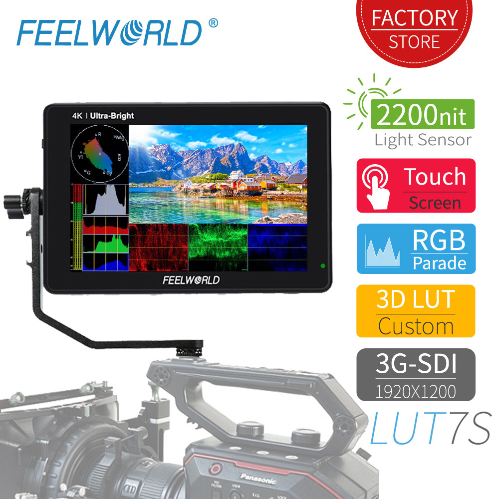 FEELWORLD LUT7S 7 Inch 2200nits Touch Screen Field Monitor 3D LUT Full HD 1920x1200 IPS 3G SDI 4K HDMI Input Output DSLR Monitor