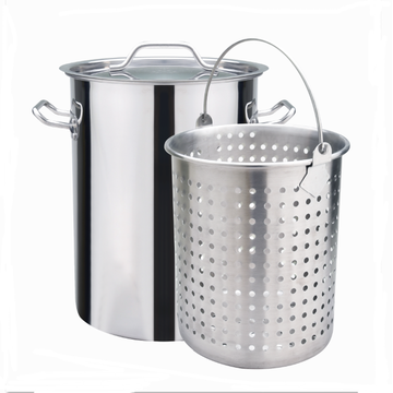 Stainless Steel Stock Pot with raised basket steamer