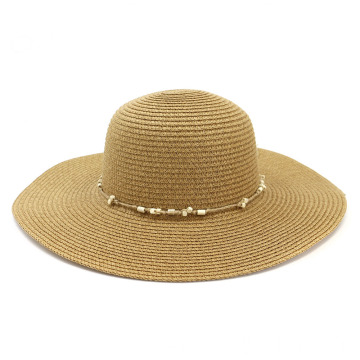 Plain bone style floppy large brim straw hat