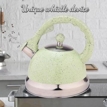 Green Mirror Stainless Steel Whistling Teapot