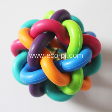 Colorful Interwoven Rubber Pet Dog Ball Toy