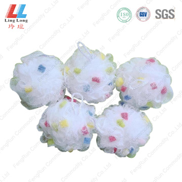 Basic white little sponge mesh bath ball