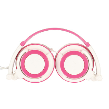 Foldable Pink Wired Headphones Headset Beautiful Earphone