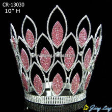 Pageant Crown Pink Rhinestone Full Round Crown CR-13030