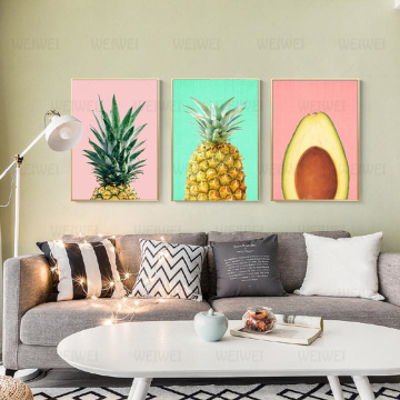 Fresh Fruit Pictures Wall Pineapple Avocado Kiwi Fruit Poster Modern Minimalist Canvas Painting For Living Room Kitchen Decor